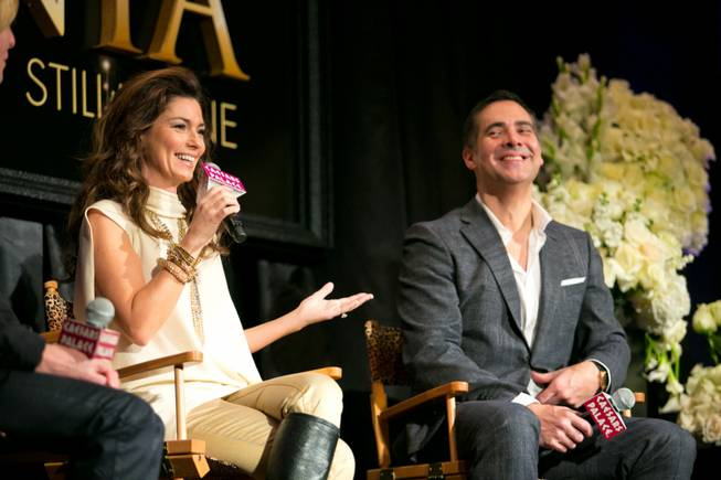 "Shania Twain and Raj Kapoor, Director of her new show ""Still The One"", make a few remarks during a press conference at Caesars Palace, Friday Nov. 30, 2012."