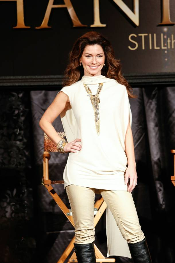 Shania Twain poses for photos during a press conference at Caesars Palace for her upcoming show