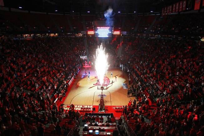 Fireworks light up the Thomas & Mack before UNLV's game against Hawaii Saturday, Dec. 1, 2012.. UNLV won 77-63