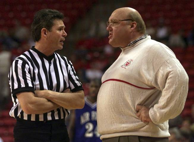 Utah coach Rick Majerus argues for a call during his team's Mountain West Conference Tournament game against Air Force March 9. Utah won 74-65.