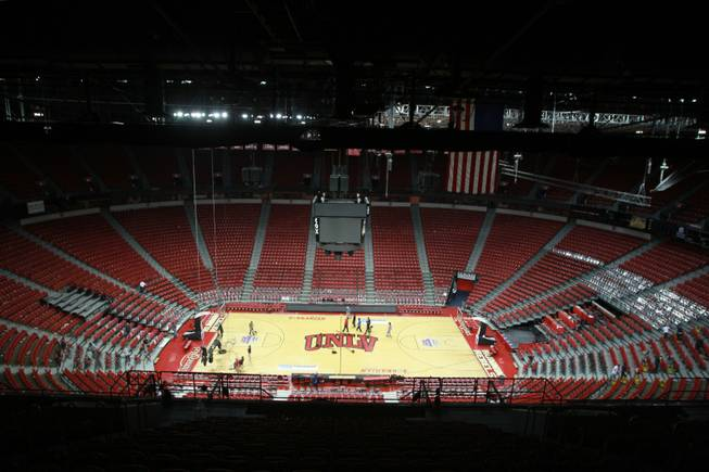 Only a few workers are seen on the Thomas & Mack after UNLV vs Hawaii men's basketball game, Dec. 1, 2012.