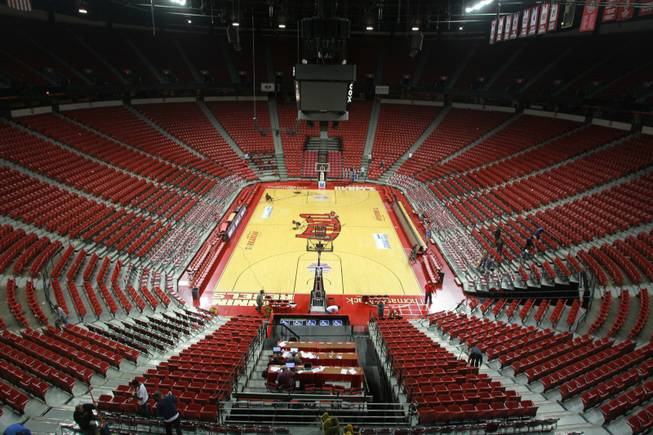 Only a few workers are seen inside the Thomas & Mack after the UNLV vs. Hawaii men's basketball game on Dec. 1, 2012.