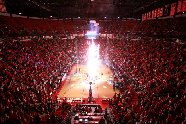 Fireworks go off during the UNLV vs Hawaii men's basketball game, Dec. 1, 2012.
