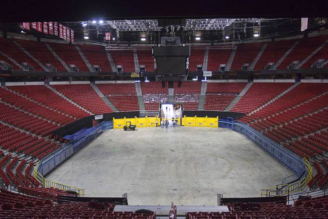 as workers prepare the Thomas & Mack Center for the National Finals Rodeo Sunday, Dec. 2, 2012. This year's NFR begins Thursday, Dec. 6 and runs through Saturday Dec. 15.