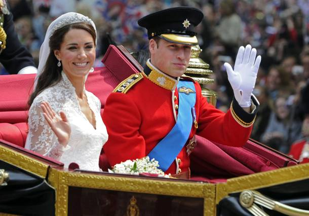 In this Friday April 29, 2011 file photo Britain's Prince William and his bride Kate, Duchess of Cambridge, leave Westminster Abbey, London, following their wedding.