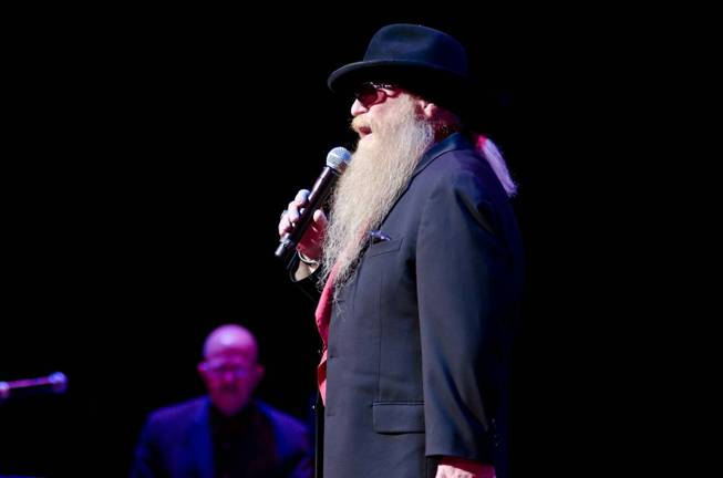 "Dusty Hill of ZZ Top, 2012 Memphis Music Hall of Fame inductees, performs ""Jailhouse Rock"" as a tribute to fellow inductee Elvis Presley at the Nov. 29 Hall of Fame Induction Ceremony."