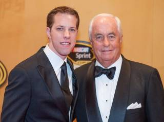 Brad Keselowski and Roger Penske arrive on the 2012 NASCAR Sprint Cup Series Awards red carpet at the Wynn on Friday, Nov. 30, 2012.