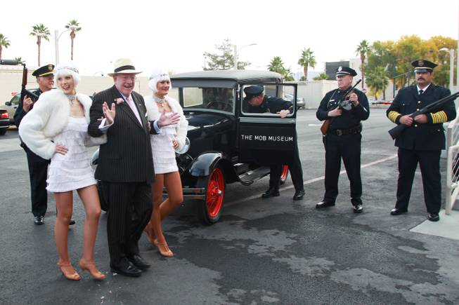 Former Las Vegas Mayor Oscar Goodman arrives at an event at the Mob Museum Wednesday, Dec. 5, 2012 to publicize a party being held later that evening to mark the end of prohibition.