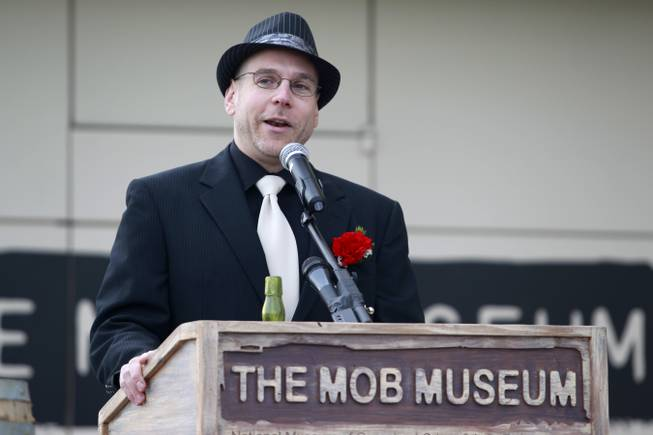 Museum executive director Jonathan Ullman speaks at an event at the Mob Museum Wednesday, Dec. 5, 2012 to publicize a party being held later that evening to mark the end of prohibition.