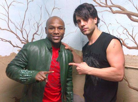 "Floyd Mayweather Jr. and Criss Angel backstage at ""Believe"" in the Luxor."