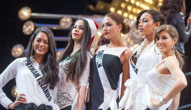 "The 2012 Miss Universe Pageant contestants at ""Jubilee!"" in Bally's on Thursday, Dec. 6, 2012."
