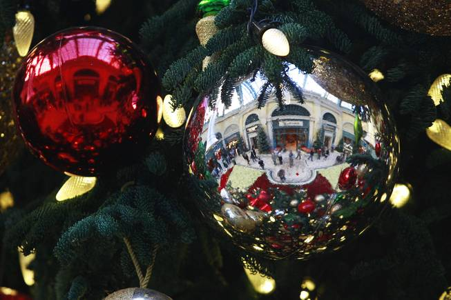 Ornaments are seen in the holiday display at the Bellagio Conservatory & Botanical Garden Friday, Dec. 7, 2012.
