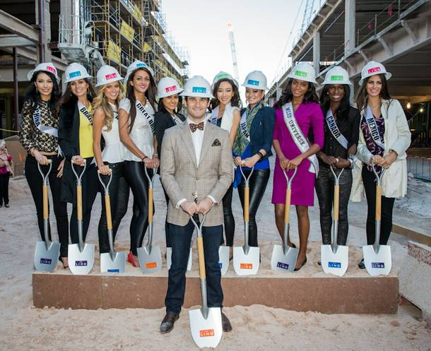 2012 Miss Universe Pageant contestants and 2011 Miss Universe Leila Lopes with Jon Gray at Linq on Friday, Dec. 7, 2012.