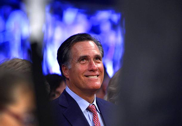 Former Republican U.S. presidential candidate Mitt Romney waits for the start of a welterweight bout between Manny Pacquiao and Juan Manuel Marquez at MGM Grand Garden Arena on Dec. 8, 2012, in Las Vegas.