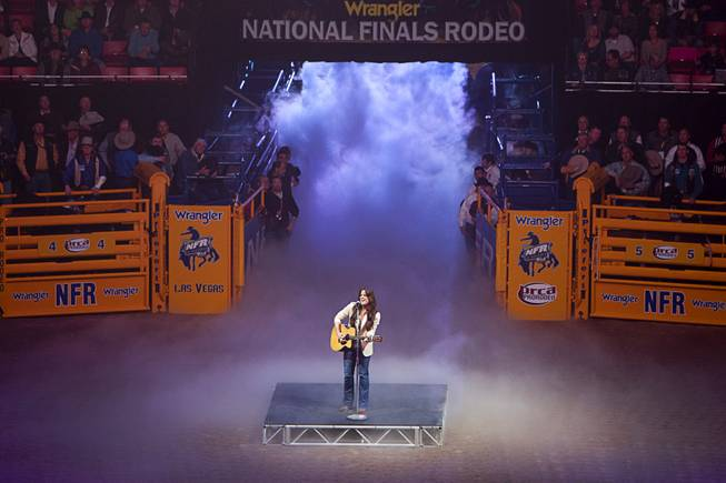Singer/songwriter Bonnie Bishop performs during the fourth go-round of the Wrangler National Finals Rodeo at the Thomas & Mack Center Sunday, Dec. 9, 2012. The NFR continues through Saturday.