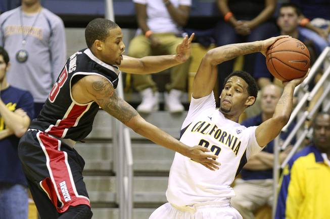 UNLV guard Bryce Dejean-Jones defends Cal guard Allen Crabbe during the first half of their game Sunday, Dec. 9, 2012 at Haas Pavilion in Berkeley, Calif.