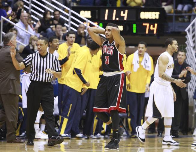 UNLV guard Anthony Marshall grabs his head after folding Cal late in the second half of their game Sunday, Dec. 9, 2012 at Haas Pavilion in Berkeley, Calif. UNLV won 76-75.