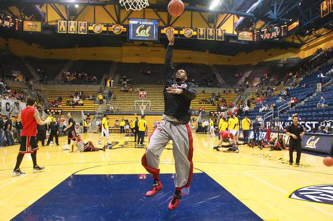 UNLV forward Mike Moser and the rest of the Runnin' Rebels warm up before their game agasint Cal at Haas Pavilion in Berkeley, Calif., Sunday, Dec. 9, 2012.