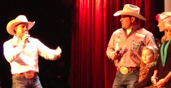 Cody Ohl, Hico, Tex., is recognized Saturday night on stage after finishing first in tie-down roping in the third go-round of action at the Wrangler National Finals Rodeo in Las Vegas.