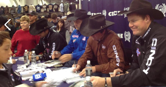 Steer wrestlers Luke Branquinho, Jason Miller, Sean Mulligan and Jake Rinehart sign autographs Sunday morning in the Boot Barn in the Las Vegas Convention Center as Day 4 of the 10-day Wrangler National Finals Rodeo continues.