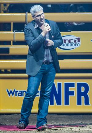 Taylor Hicks sings the national anthem at Day 1 of the 2012 Wrangler National Finals Rodeo at the Thomas & Mack Center on Thursday, Dec. 6, 2012.