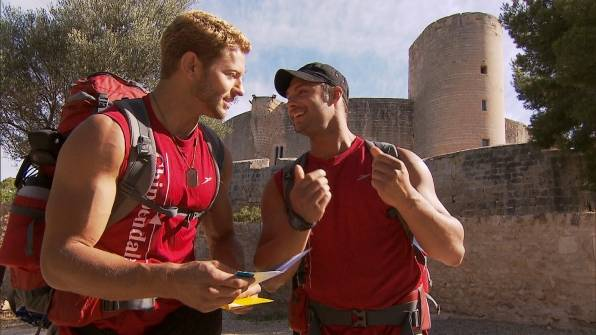 "Jaymes Vaughan and James Davis compete on CBS' ""The Amazing Race"" on Sunday, Dec. 9, 2012."