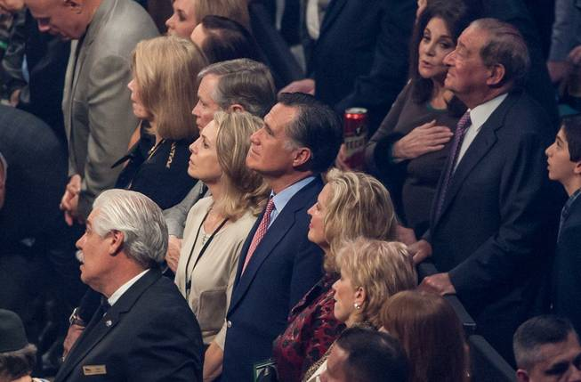 Ann and Mitt Romney at Manny Pacquiao vs. Juan Manuel Marquez at MGM Grand Garden Arena on Saturday, Dec. 8, 2012.