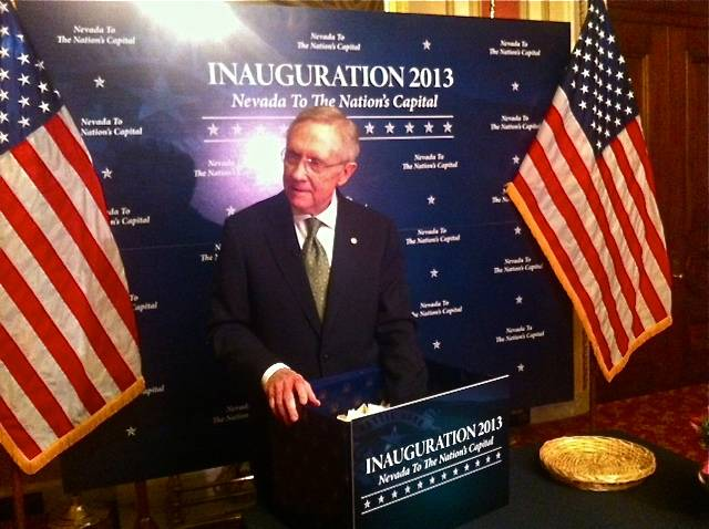 U.S. Sen. Harry Reid drew the names of 10 Nevadans on Monday, Dec. 10, 2012, to attend President Barack Obama's second-term inauguration in January.