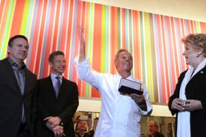 Wolfgang Puck receives the key to the city from Las Vegas Mayor Carolyn Goodman to celebrate the 20th anniversary of Spago Las Vegas inside The Forum Shops at Caesars on Tuesday, December 11, 2012.