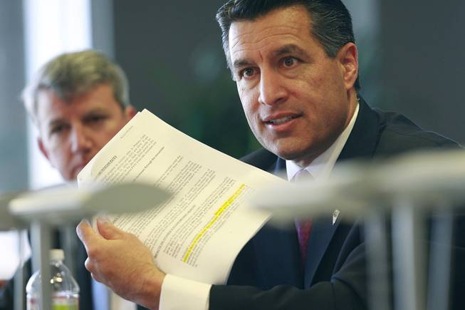 Nevada Governor Brian Sandoval speaks to the Las Vegas Sun editorial board Wednesday, Dec. 12, 2012.