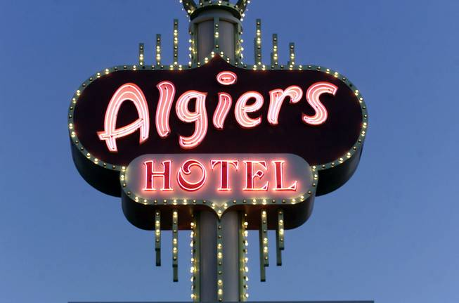 The sign outside the Algiers Hotel at 2845 Las Vegas Boulevard South photographed July 18, 2001.