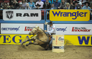 Barrel racer Sherry Cervi and her horse, Stingray, fall during competition Tuesday at the Wrangler National Finals Rodeo in Las Vegas. Photos courtesy of Hubbell Rodeo Photos.