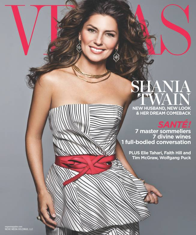 Shania Twain on the December 2012 cover of Vegas Magazine.