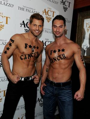 "Jaymes Vaughan and James Davis attend the ""Kiss for a Cure"" benefit for the American Cancer Society and ForgetCancerNow.com at the Act in the Palazzo on Wednesday, Dec. 12, 2012."