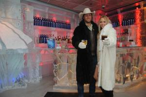 Pauline Reese and a guest at Minus5 Ice Bar in Mandalay Place.