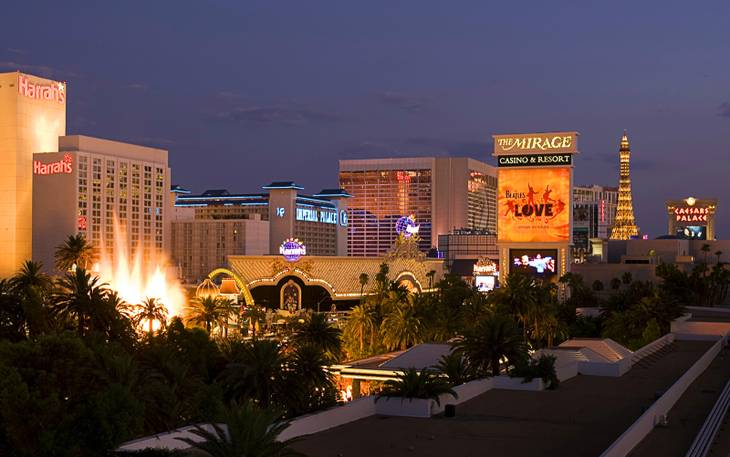 A view of casinos on the Las Vegas Strip.