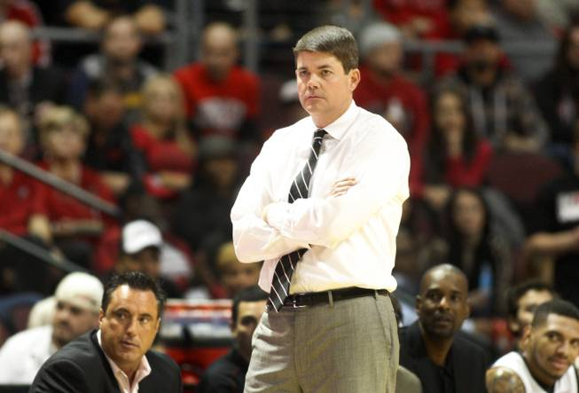 UNLV coach Dave Rice watches the Rebel's game against the La Verne Leopards at the Orleans Arena Thursday, Dec. 13, 2012.