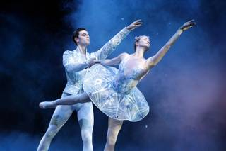 Steven Goforth and Alissa Dale perform as the Snow Prince and Winter Fairy during a dress rehearsal for Nevada Ballet Theater's