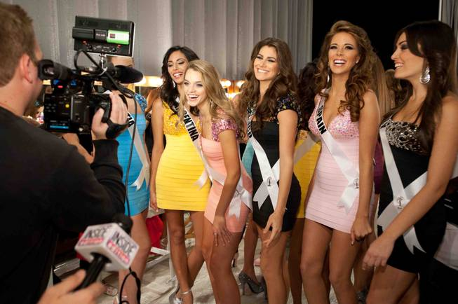 Backstage at the preliminaries of the 2012 Miss Universe Pageant ...