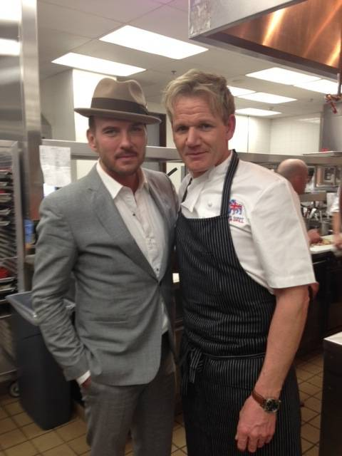 Matt Goss and Gordon Ramsay at Ramsay's new Pub & Grill in Caesars Palace.