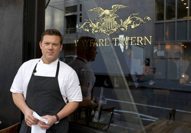 Chef Tyler Florence poses outside his Wayfare Tavern in San Francisco on Monday, Oct. 29, 2012.