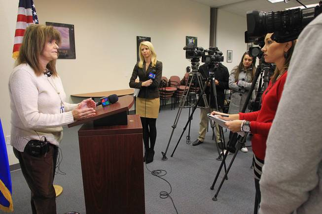 Rosemary Virtuoso from the Clark County School District's Department of Student Threat Evaluation & Crisis Response addresses the Connecticut school shooting with the media Friday, Dec. 14, 2012.