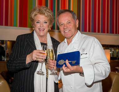 To celebrate the 20 successful years of his restaurant Spago, chef Wolfgang Puck hosts a unique Sip and Savor dinner tonight, with chefs from his six Las Vegas restaurants joining the party.