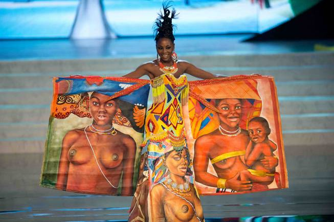 2012 Miss Angola Marcelina Vahekeni onstage for the 2012 Miss ...