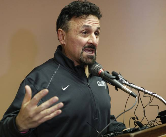 Frank DiAngelis, Columbine High School Principal at time of the massacre and still principal today speaks at a news conference where he talked about the Connecticut School Shooting at Jefferson County School headquarters in Golden, Colo., on Thursday, Dec. 14, 2012.  In a state that was rocked by the 1999 Columbine school massacre and the Aurora movie theater shooting less than six months ago, Fridays shootings renewed debate over why mass shootings keep occurring and whether gun control can stop them.  (AP Photo/Ed Andrieski)