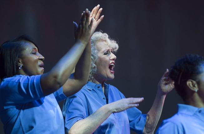 MGM Resorts International employees perform in during a dress rehearsal for Inspiring Our World show at the Mandalay Bay Events Center Saturday, Dec. 15, 2012.