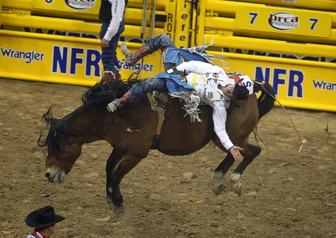 Bareback rider Kaycee Feild of Payson, Utah competes during the final night of the Wrangler National Finals Rodeo Saturday, Dec. 15, 2012. Feild won the world championship title in bareback riding.