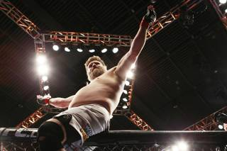 Roy Nelson salutes the crowd after knocking out Mike Mitrione during their bout at