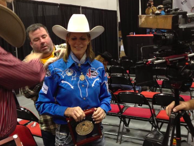 Mary Walker gets ready to talk about being named World Champion in barrel racing Saturday night at the Wrangler National Finals Rodeo in Las Vegas.