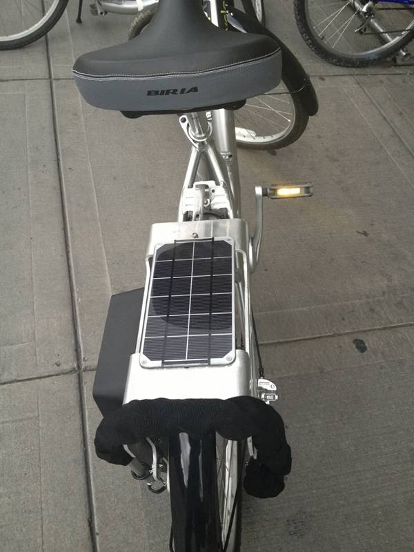 A photovoltaic cell behind the seat powers a global positioning system on the bikes in the bike-sharing program.